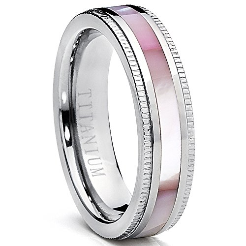 Titanium Women's Pink Hues Mother of Pearl Inlaid Band Ring