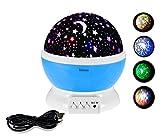 Intsun LEDライト スポットライト 美しい星空 プロジェクター 360度回転 電池/USB給電 多色変更可能 夜間ライト 卓上スタンド ロマンチック雰囲気作り    (ブルー)