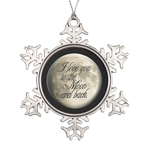 Follies Christmas I Love You to the Moon and Back Realistic Lunar Snowflake Pewter Christmas Ornament