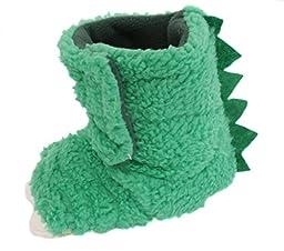 Chatties Unisex Toddler\'s Monster Feet Velcro Slipper Shoes, Green, Large 9/10