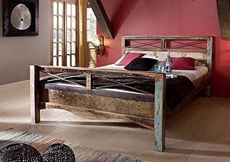 massiv Altholz Möbel lackiert Bett 160x200 Massivmöbel mehrfarbig Massivholz Spirit #46