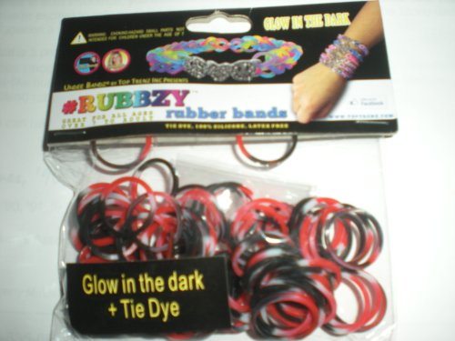 Rubbzy Red Black and White Glow in the Dark 100 Loose Rubber Bands
