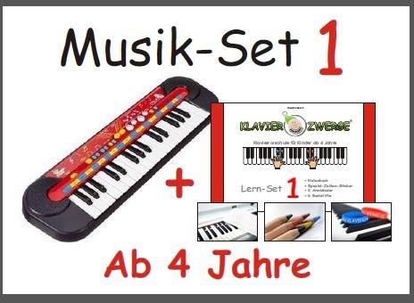 Klavierzwerge-Deutschland-Kit-musical-1-teclado-infantil-y-curso-de-piano-en-alemn-para-nios-pequeos-a-partir-de-4-aos-para-principiantes-preescolares-2-pulseras-de-silicona-lpices-de-colores-pegatina