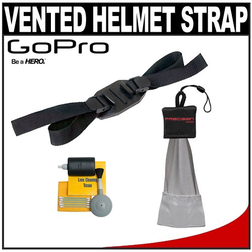 GoPro Vented Helmet Strap with Spudz Mini + Cleaning Kit for HD Helmet, HD Motorsports, HD Surf & HD Naked Hero Digital Video Cameras