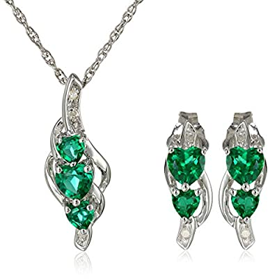 """Sterling Silver Heart Diamond Earrings and Pendant Necklace Jewelry Set, 18"""""""