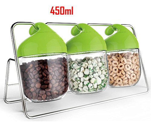450ml Unique Design Glass Food Storage Jars / Airtight Plastic Clip Top Lids / 3 Piece Set on Rack (Pretty Plastic Jars compare prices)