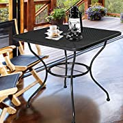 "Homevibes 30"" Outdoor Patio Dining Table Top Bistro Table Top Umbrella Stand Square Deck Furniture Garden Table Powder-Coated Steel Frame, Ash Black"
