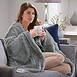 Serta Faux Fur Electric Throw Blanket, GRAY