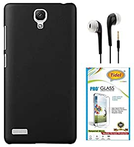 Tidel Stylish Rubberized Plastic Back Cover For Xiaomi Redmi Note Prime ( Black ) With Tidel 2.5D Tempered Glass & 3.5mm Handsfree Earphone