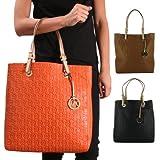 Michael Kors Jet Set Women's Monogram Handbag Tote Bag Purse Leather Tablet Ipad