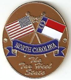North Carolina & United States of America Flags - Hiking Stick Medallion - The Tar Heel State