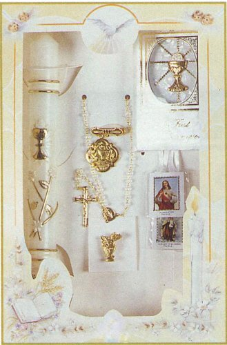 Boxed First Communion Gift Set - Rosary - FC Pin - 3-D Missal - Candle - Box Size: 11.5