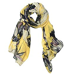 eFuture(TM) Yellow Fashion Begonia Flower Ink Style Soft & Warm Long Chiffon Shawls Scarves Wrap For Women/Lady +eFuture's nice Keyring