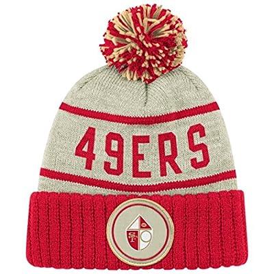 San Francisco 49ers Oatmeal Heathered Striped Cuff Pom Knit Beanie Hat / Cap