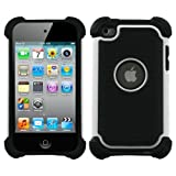 Snap-On Protector Hybrid Hard/Gel Case for Apple iPod Touch 4th Generation / 4th Gen – White/Black