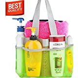 Shower Caddy - Quick Dry Hanging Toiletry and Bath Organizer with 7 Storage Compartments - Perfect Dorm, Gym ,Camp & Travel Tote Bag - Convenient and Sturdy Double Woven Carrying Handle - High Quality Breathable Mesh Fabric Caddy Shower - 100% Money Back Guarantee (GREEN)