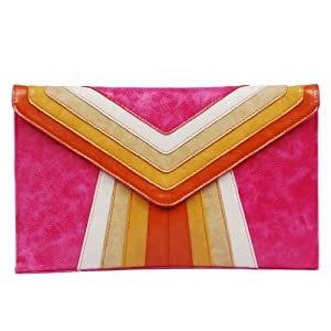 Color Block Envelope Clutch, Pink