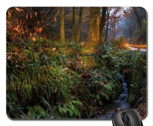 brook along a road with lights in long exposure Mouse Pad, Mousepad (Rivers Mouse Pad)