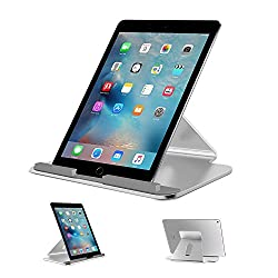 OMOTON iPad Pro Stand - Alumium Tablet Dock Stand for iPad Pro and other 7-13 inch Tablets with Silicone Antiskid, Ergonomical and Minimalist Design, Silver