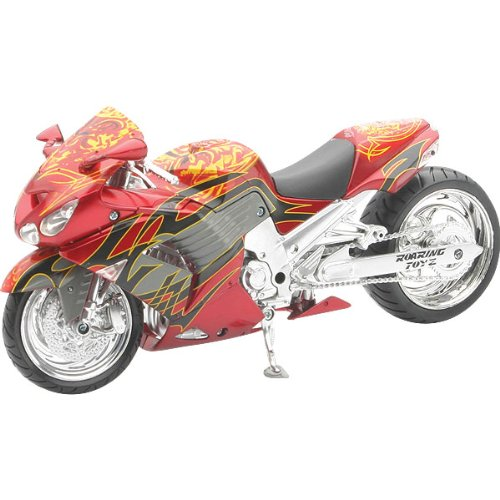 New Ray Kawasaki Roaring Toyz Custom ZX-14 Replica Motorcycle Toy - Red/Black/Yellow / 1:12 Scale