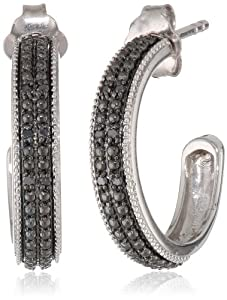 Sterling Silver Black Diamond Open Hoop Earrings