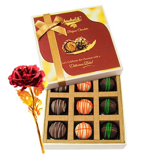 Attractive Treat Of Truffles With 24k Red Gold Rose - Chocholik Luxury Chocolates