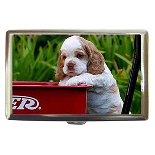 Cocker Spaniel Puppy Dog Custom Business Name Card Money Credit Card Holder Box Case front-345178