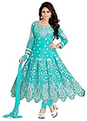Youth Mantra womens Georgette embroidered Turquoise dress materials