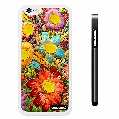 CowCool® Apple iphone 6 4.7 Inch Soft Silicone sunflowers plants White Shell Single Layer Protective Case (Style3)