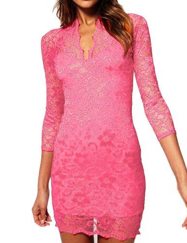 Moonar Women V Neck Cocktail Party Mini Lace Dress (L, Pink)