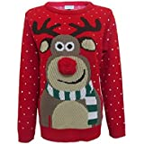 Mens Ladies Novelty Jumper Sweater Retro Christmas Xmas Rudolph Winter Olaf Frozen Penguin Pom Pom Nose Pull Over Jumper