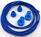 Reflective No-Tie Shoe Laces - Elastic Safety Laces with Locks (Blue)