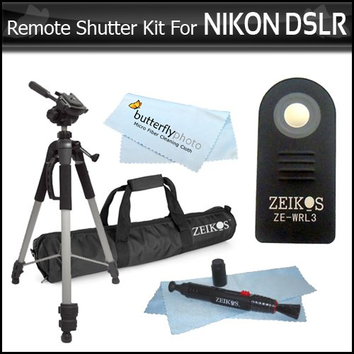 "Wireless IR Remote Control Shutter Release Kit For Nikon D40, D40X, D50, D70,D60, D70S, D80, N65, N75, Coolpix 8400, 8800, Pronea S, Nuvis S & Lite Touch Zoom DSLR Cameras Includes Wireless Remote Control + 72"" Full Tripod + Lens Pen Cleaning Kit + More"