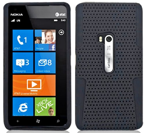 Mylife Shocking Matte Black Perforated Mesh Series (2 Layer Neo Hybrid) Slim Armor Case For The Nokia Lumia 920, 920.2, 920T And 920 4G Camera Smartphone By Microsoft (External Rubberized Hard Shell Mesh Piece + Internal Soft Silicone Flexible Gel)