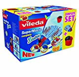Vileda Supermocio 3 Action Mop Set Contains Mop and Bucket and Wringer, Red