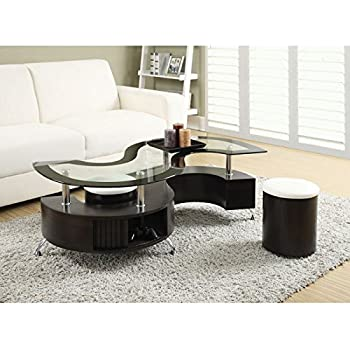 Coaster 720218-CO Coffee Table with Stools, In Cappuccino