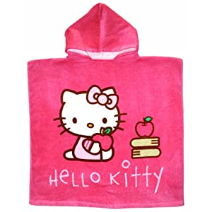 poncho cape de bain enfant hello kitty avec capuche sports et loisirs. Black Bedroom Furniture Sets. Home Design Ideas