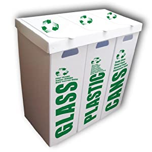 3 in 1 recycle bin set glass plastic cans large 36 5 gallon capacity ea in - Recycle containers for home use ...