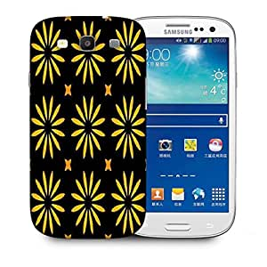 Snoogg Yellow Flower Black Pattern Printed Protective Phone Back Case Cover For Samsung S3 / S III