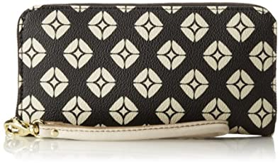 Fossil Sydney Signature Zip Clutch Wallet,Black/Bone,One Size