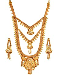 Variation Designer Gold Plated Long Bridal Necklace Set With Earrings - VD17219