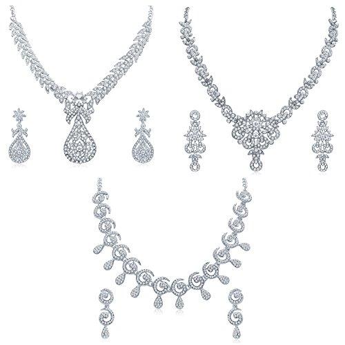 Sukkhi-White-Brass-Choker-Necklace-Set-Combo-For-Women