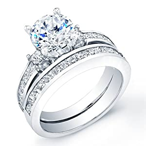 2.30 ct round cut diamond wedding engaement anniversary bridal ring set band