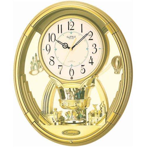 Pendeluhr Rhythm 7736 Wanduhr MAGIC MOTION mit Drehpendel , goldfarben , 6 Melodien
