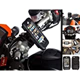 Motorcycle Pro Bike Handlebar Ball Mount Attachment with Hard Waterproof Tough Case for Apple iPhone 5 5s