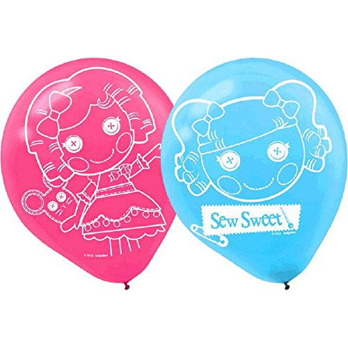 Amscan Adorable Lalaloopsy Printed Latex Balloons (6 Piece), Pink/Blue, 12""