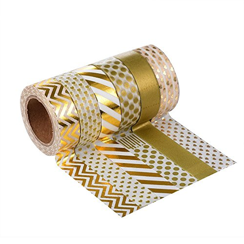 Tape Art Washi Tapes LATH.PIN - Decorative Masking Adhesive Paper Tape Collection for Scrapbooking, DIY Crafts and Gift Wrapping, Set of 6