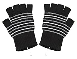 EUBUY Knitting Wool USB2.0 Heated Stripe Pattern Hand Warmer Laptop PC Heating Fingerless Gloves Mittens (Black)