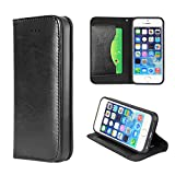 Moon Monkey Classical Luxury Wallet with Card and Stand Defender Genuine Leather Case for Iphone 5/5s (Black)