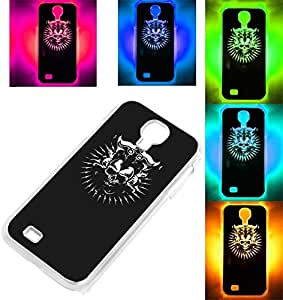 Captain Skull Pattern Calling Sense Flash LED Color Changed Protective Back Case for Samsung Galaxy S4 i9500 - Black
